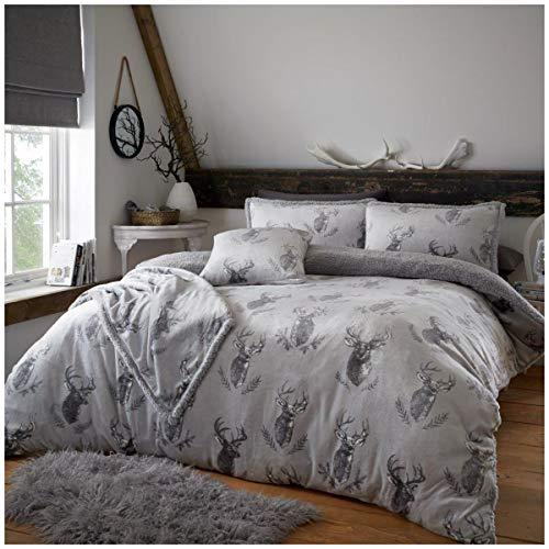 Premium Quality Soft & Cosy Teddy Murray Stag Fleece Duvet Cover Set, Fleece & Warm Fluffy Bedding Set, King Size, Grey