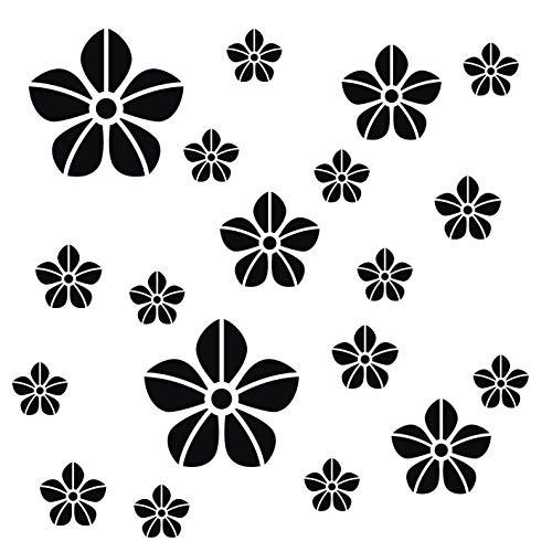 kleb-Drauf® | 19 Blumen | Schwarz - matt | Wandtattoo Wandaufkleber Wandsticker Aufkleber Sticker | Wohnzimmer Schlafzimmer Kinderzimmer Küche Bad | Deko Wände Glas Fenster Tür Fliese