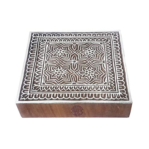 6 Inch Indisch Drucken Blöcke Groß Vintage Quadrat Gestalten Großer Holzstempel