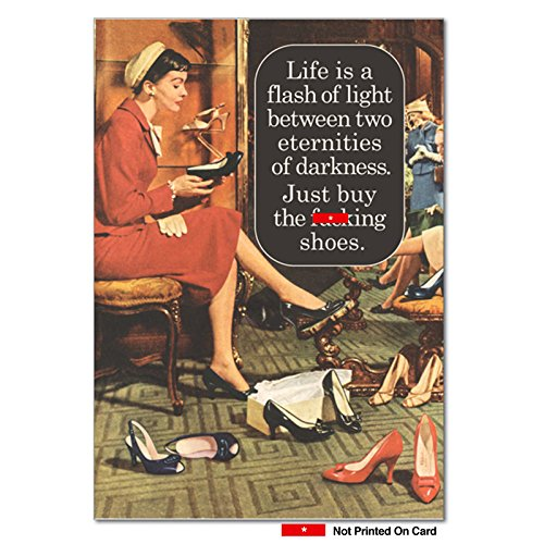 Buy F-cking Shoes - Funny Birthday Greeting Card with Envelope (4.63 x 6.75 Inch) - Adult Humor Retro Gratitude Card for Birthdays 4072