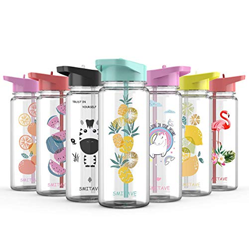Smitave Water Bottle with Straw, 550ml Motivational Water Bottle with Time Markings, BPA-Free with Flip Nozzle and Leakproof - Ideal for School Kids Girls, Sports, Gift (Pineapple)