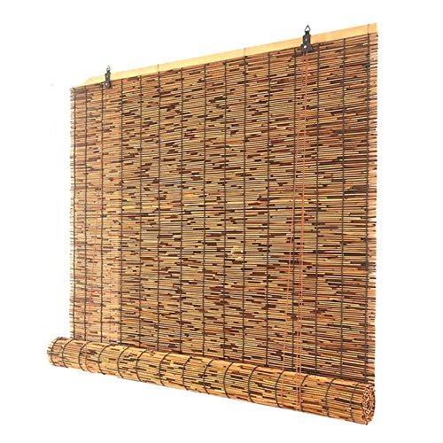 WZRIOP Roller Blinds,Reed Curtain Outdoor gazebo blackout bamboo curtain,Natural Environmental Protection Straw Blinds,Roller Blinds-Bamboo Blinds-Reed Curtain,(90x120cm/56x47in)
