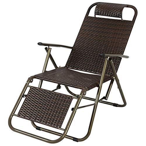 Silla Plegable Silla de Camping con reposapiés reclinable para Personas Pesadas, ratán, Viaje Pesca al Aire Libre Silla portátil Chaise Black
