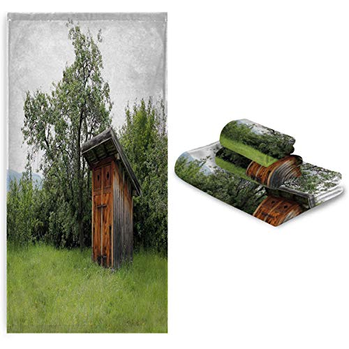 Zara Henry Outhouse Fitness Sweat Towel Wooden Little Hut Barn Shed Cottage in Nature Forest Image Soft After a Wash washcloths Forest Green Pale Green and Brown