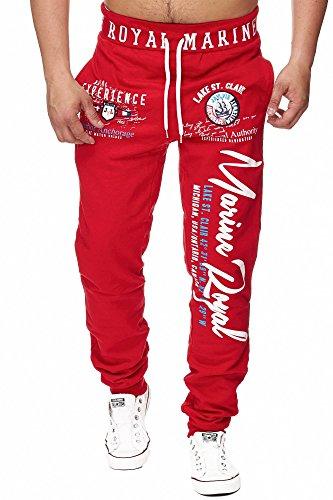 Jogginghose Herren lang | Trainingshose Baumwolle | Sporthose mit Bündchen | Enger Beinabschluss | Marine 5258 (L, Rot)