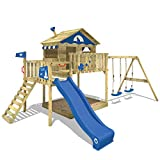 WICKEY Parque infantil de madera Smart Coast con columpio y tobogán azul, Casa de juegos de jardín con arenero y escalera para niños