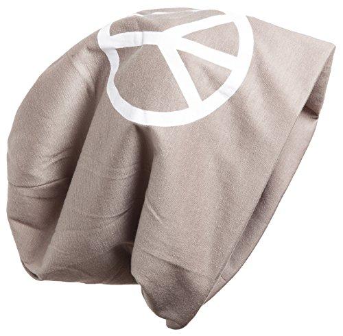 Brubaker Bonnet Slouch en coton pour homme ou femme avec motif Peace en grand impression. - Marron - Taille unique