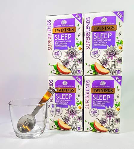 Twinings Sleep Well Night Time Té, 4 cajas, 80 tés sobres con taza de cristal y exprimidor de bolsitas de té