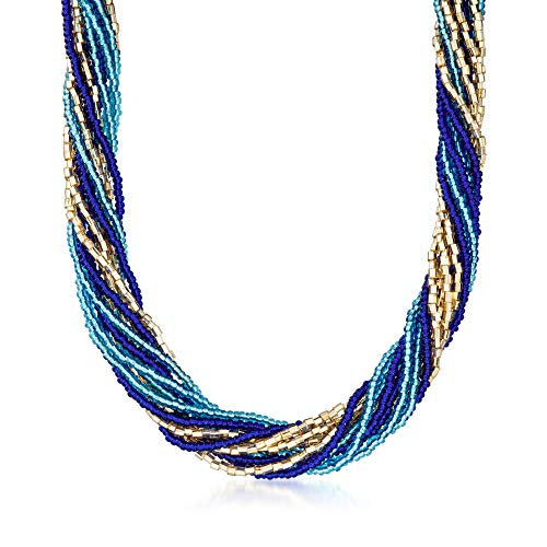 Ross-Simons Italian Blue and Golden Murano Glass Bead Torsade Necklace With 18kt Gold Over Sterling. 18 inches