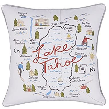 EURASIA DECOR DecorHouzz Pillow Covers State/City Map Pillowcase Embroidered Cushion Cover Birthday Gift Graduation Gift New Home Gift 18 x18  (Lake Tahoe)