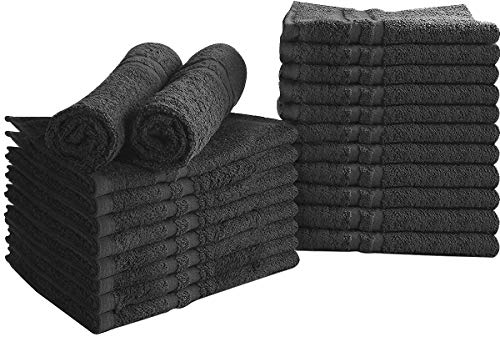 Utopia Towels Cotton Bleach Proof Salon Towels (24-Pack, Black,16x27 inches) - Bleach Safe Gym Hand Towel