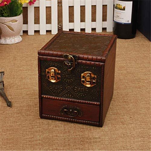 Multifunctional Caja de maleta Mini Joyas de madera Caja caja de almacenamiento de pecho Organizador Vieja Vintage Caja de baratija Cajas decorativas (Color: Rojo, Tamaño: 14 × 12.5 × 14cm)