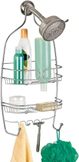 iDesign Neo Shower, Medium Metal Storage, Hanging Bathroom Caddy with 3 Shelves, 6 Hooks and 2 Suction Cups, Silver, Stee...
