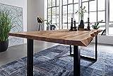 SAM Esszimmertisch 220 x 100 cm Mephisto, Baumkantentisch naturfarben, Akazienholz massiv, U-Gestell aus Metall schwarz