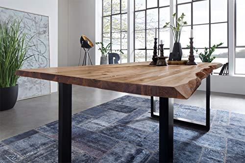 SAM Esszimmertisch 140 x 80 cm Mephisto, Baumkantentisch naturfarben, Akazienholz massiv, U-Gestell aus Metall schwarz