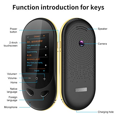 Language Translator Device Offline Translator Device Two Way Instant Voice Translator Audio Memo Recording Translation Support 106 Languages Travelling Learning Shopping Business Chat Shopping Black Photo #3