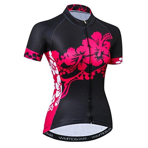 JPOJPO Damen Fahrradtrikot Kurzarm Sommer Biking Shirt Jacke Bike Tops Fahrradbekleidung XXL schwarze blumen
