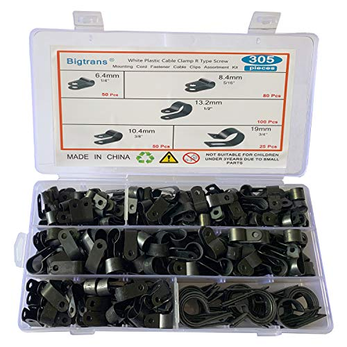 Bigtrans 305 Pcs Nylon Plastic R-Type Wire Clips 1/4' 5/16' 3/8' 1/2' 3/4' Clamps Fasteners Assortment for Cable Conduit -5 Size -Black