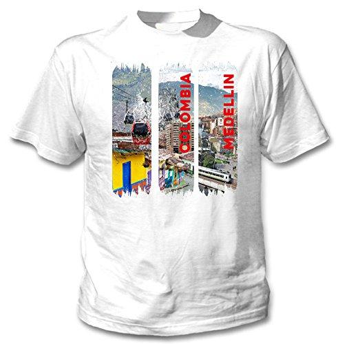 teesquare1st Medellin Colombia Camiseta Blanca para Hombre de Algodon Size Xlarge
