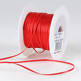 BBCrafts Red Satin Ribbon 1/8 inch 100 Yards