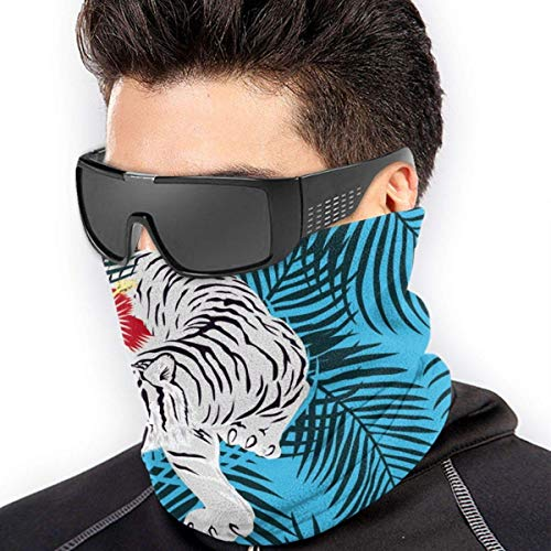 Braga Cuello Moto Calentador de Cuello Deporte Calentador Pasamontañas Polar Multifuncional Máscara Tigers And Tropical Pattern Men Women Face Mask Windproof Neck Head Wrap For Snowboarding