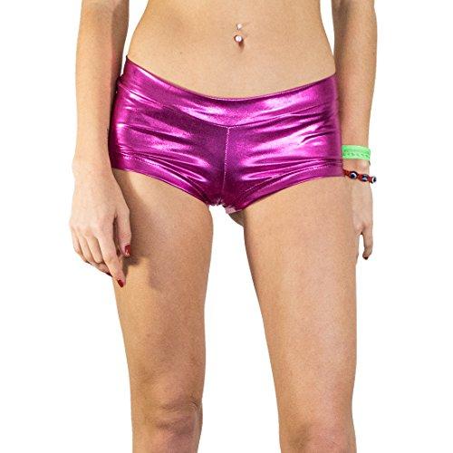 Santa Playa Short Shiny Booties, Women's Breathable Swim Yoga Party Shorts (Large, Pink Panther)