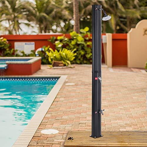JAXPETY 7.2 FT Solar Heated Shower w/Shower Head and Foot Shower 9.3 Gallon Dual-Purpose Outdoor Poolside Beach Pool Spa Backyard Farmyard Shower, Black