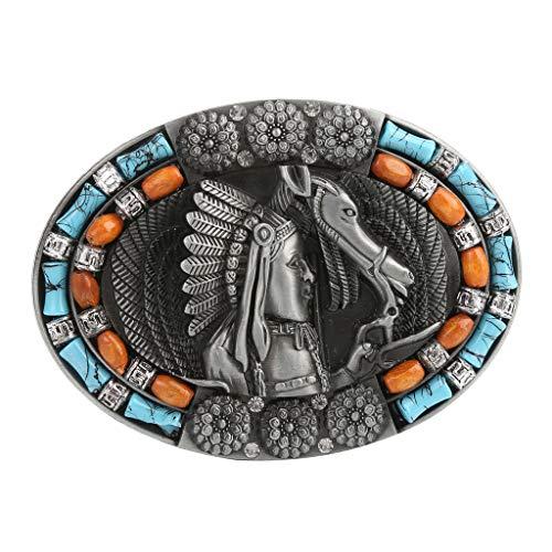 Sharplace Fibbia Per Cintura Di Ricambio Stile Cowboy Occidentale - 1, Taglia unica