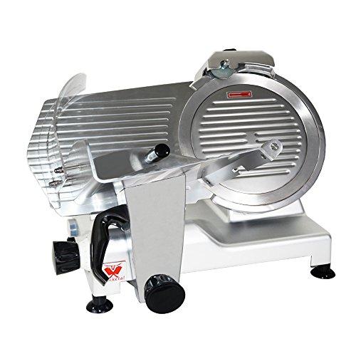 Beeketal \'Profi 300\' Aufschnittmaschine mit Ø 300 mm Spezialmesser (glatte Schneide), Schnittstärke 0-15 mm, Aluminium Schrägschneider mit Schnittguthalter, Schubhilfe und Schärfvorrichtung