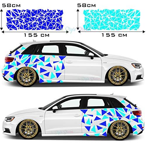 1A Style Sticker Auto Aufkleber Car-Tattoo Seitenaufkleber Decor Fleck-Tarn DREICK 250 Stück - 26 Farben - 2 Farbig Autoaufkleber
