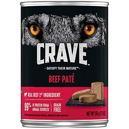 CRAVE Grain Free Adult Canned High Protein Natural Soft Wet Dog Food Beef Paté, (12) 12.5 oz. Cans