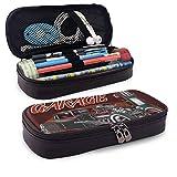 XCNGG 1960S Coche Vintage Hot Rod Garage 1950S 1970S Cuero de PU Estuche para lápices Estuche para bolígrafos Bolsa con cremallera Útiles escolares para estudiantes Monedero Bolsa de maquillaje cosmét