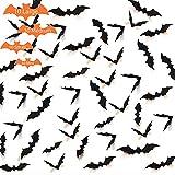 Decoracion Halloween Murciélago Pegatina 3D Interior, Decoraciones Espantosas de Pared, Puerta Ventana de Casa – 60 Piezas