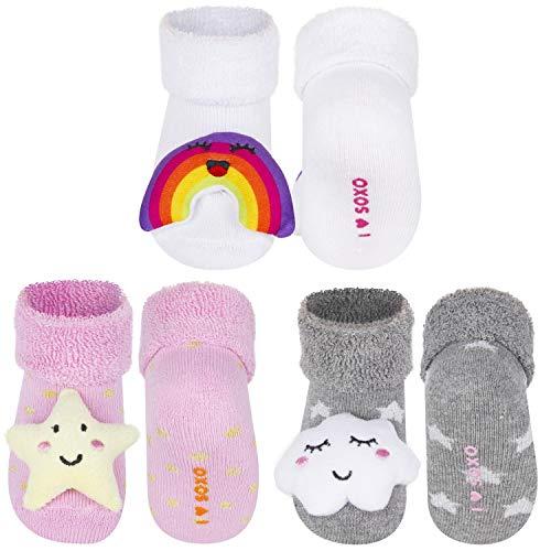 soxo Calcetines de Color para Bebe | Paquete de 3 | Talla 16-18 | para Niñas y Niños de 0 a 12 Meses | Calcetines Sonajero Animales de Algodón | Antialérgicos y no Irritan la piel