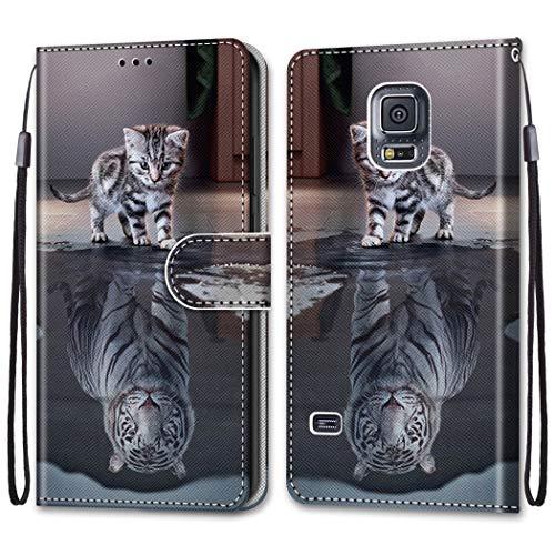 i-Case Cárcasa para Samsung Galaxy S5 Protectora Dibujo a Color Funda de Cuero con Tapa Horizontal PU Piel Funda Teléfono Móvil Flip Cover Skin 360 Bumper Case Cover Samsung Galaxy S5,Gato Tigre