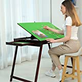 Wooden Portable Jigsaw Puzzle Table with Storage Two Drawers, Folding Tilting Table for Puzzle Games 1500 Pieces Puzzles (Green)