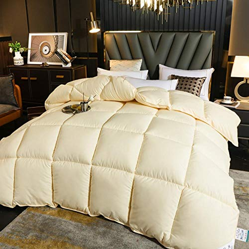 CHOU DAN Duvet 95 white goose down winter quilt 8 catties spring and autumn quilt 6 catties double student quilt single-180x220 4000g_Pure beige