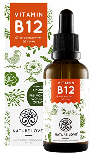 NATURE LOVE® Vitamin B12 Tropfen Vegan (1700 Tropfen, 50ml flüssig). B12 duo-aktiv: Methyl- & Adenosylcobalamin. Hoch bioverfügbar, laborgeprüft, ohne Zusätze, in Deutschland produziert