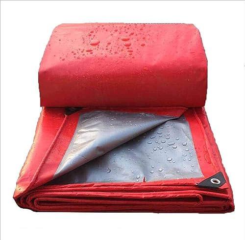 SZ JIAOJIAO Bache De Prougeection en Plein Air étanche Isolation Thermique écran Prougeecteur Pare-Soleil Rouge argent Tente,4X10m