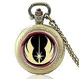 ZDANG Reloj de Bolsillo de Cuarzo Vintage con diseño único de Star Wars, cúpula de Cristal, Hombres y Mujeres, Cadena Colgante, Reloj de Horas, Regalos, Bronce