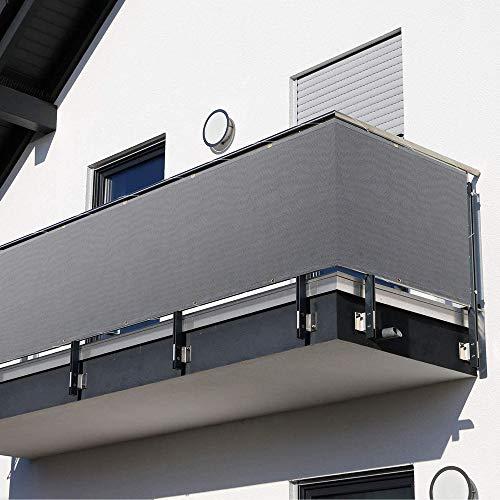 HOMPER Balkonbespannung 90x300/400/500/600cm HDPE Balkon Sichtschutz Balkonverkleidung Balkonsichtschutz Windschutz Sonnenschutz, mit Kupferöse, Nylon Kabelbinder und Kordel