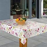 laro Wachstuch-Tischdecke Abwaschbar Garten-Tischdecke Wachstischdecke PVC Plastik-Tischdecken Eckig Meterware Wasserabweisend Abwischbar, Muster:Blume pink, rosa, grün, Größe:110x140