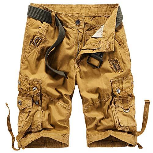Pantalones Cortos de Camuflaje para Hombre Pantalones Sueltos de Verano de Gran tamaño con múltiples Bolsillos Pantalones Casuales Delgados Fuerzas Especiales Pantalones de Entrenamiento 32
