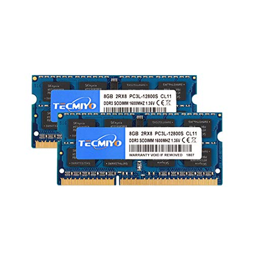 TECMIYO 16Go Kit (8Gox2) DDR3L 1600 MHz PC3-12800 Unbuffered Non-ECC CL11 1.35V 2Rx8 Dual Rank 204 Pin SODIMM Ordinateur Portable Mémoire RAM Module Upgrade
