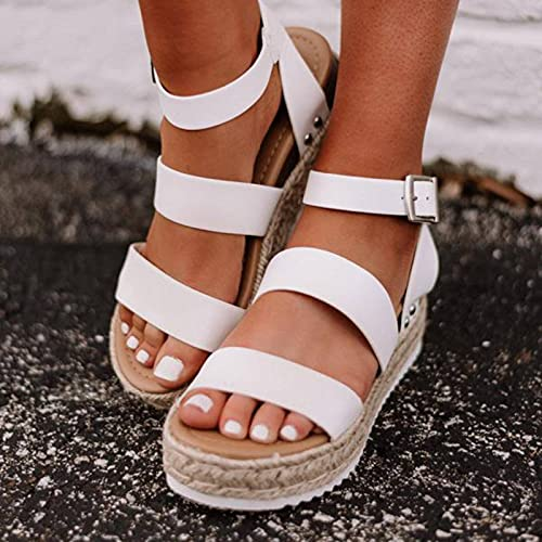 NC 2021 Summer Sandals Women Shoes Buckle Strap Gladiator Thick Soled Open Toe Platform Sandals Shoes Casual Straw Weaving Shoes