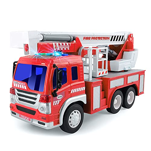 GizmoVine Inertia Fire Engine Truck Toy with Lights, Siren Sound, Extending Rescue Rotating Ladder, Pull Back Fire Cars Toys, Best Gift Toy for Age 3 4 5 6 7 Year Old Boy Kids