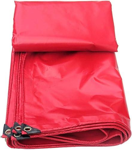 HongTeng Toile imperméable de Prougeection du Soleil de bache de Tissu Rouge de PVC 450g   m2 pour la pêche campante en Plein air (Taille   6X8m)