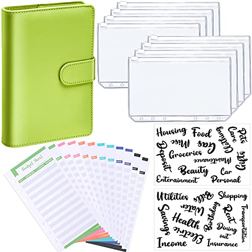 A6 PU Leather Notebook Binder Budget Planner Organizer 6 Ring Binder Cover, 8 Pieces Binder Pockets, 12 Pieces Expense Budget Sheets and 26 Categories Letter Sticker Label (A6, Bold Font, Light Green)