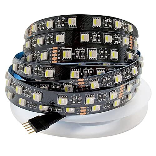 Tesfish 24V Tiras LED RGBW RGB + Blanco 5M Colores Mezclados Tiras de Luz LED Placa de PCB Negra Tiras de Luces LED 5050 IP20 300 LEDs para Dormitorio, Decoración de Cocina