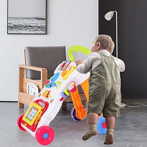 Juguete para empujar y tirar, carro de andador interactivo seguro de aprendizaje temprano de regalo, educación científica para niños pequeños